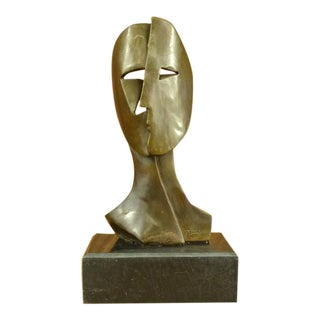 Art Deco Depicting Two Faces Mask Bronze Sculpture
