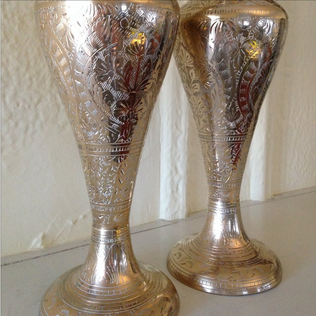 Tall Vintage Brass Vases - a Pair - Image 7 of 9