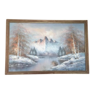 "40""x30"" Wilderness Painting, Signed & Framed Vintage Original"