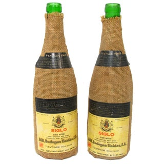 1969 Vintage Spanish Wine Bottles - A Pair