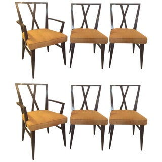 "Set Of Six Tommi Parzinger ""X"" Back Dining Two Arm Four Side Chairs."