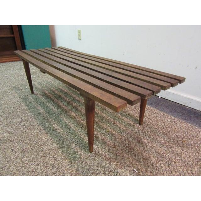 Danish Modern Walnut Slat Bench Coffee Table - Image 10 of 11