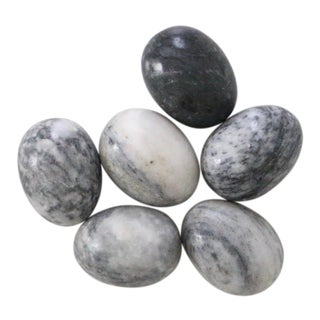 Gray Decorative Stone Eggs - Set of 6