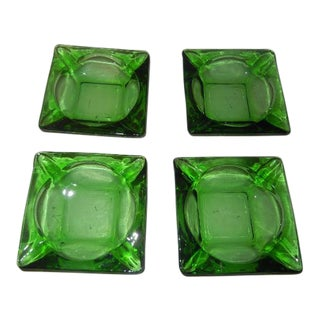Vintage Green Glass Ashtrays - Set of 4