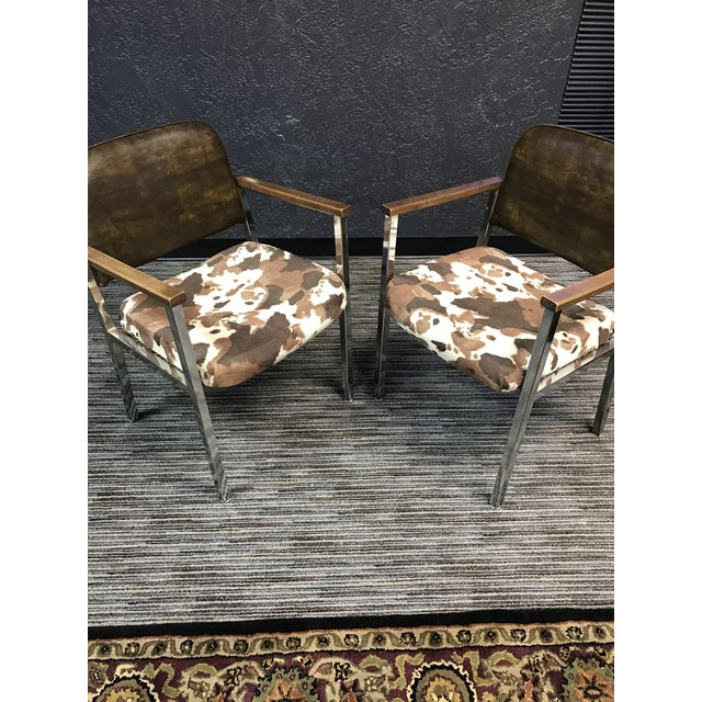 Mid-Century Faux Cowhide Chairs - A Pair - Image 3 of 8