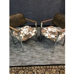 Image of Mid-Century Faux Cowhide Chairs - A Pair