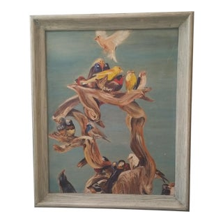 Vintage Flock of Birds Oil on Canvas Board Painting