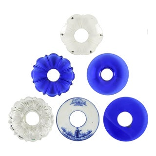 Mixed Blue & Clear Bobeches - Set of 6