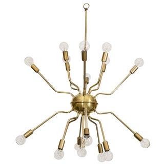Italian Brass Spider Sputnik Chandelier Pendant Attributed to Arredoluce