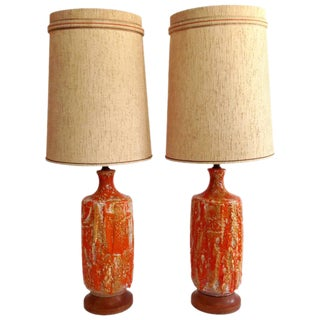 """1960's European Fat Glazed Drip """"Lava"""" Lamps - a Pair"""