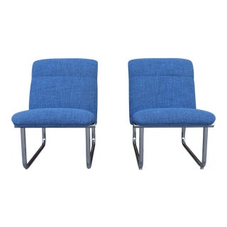 Steelcase Blue Slipper Chairs - A Pair