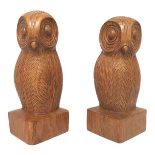 Hand Carved Wood Owl Bookends - a Pair