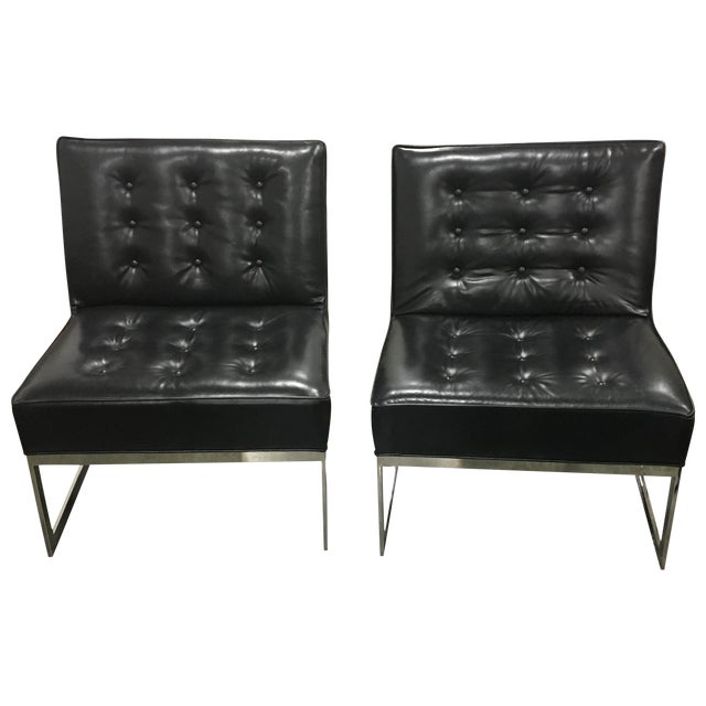 Black Leather & Chrome Chairs- A Pair - Image 1 of 8