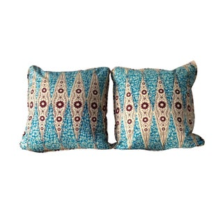 Dutch Inspired African Wax Print Pillows - Blue