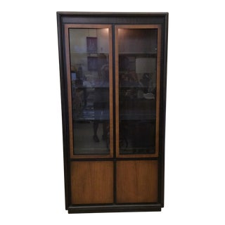 Mid Century Modern Ebony Stain & Walnut Paneled China Cabinet