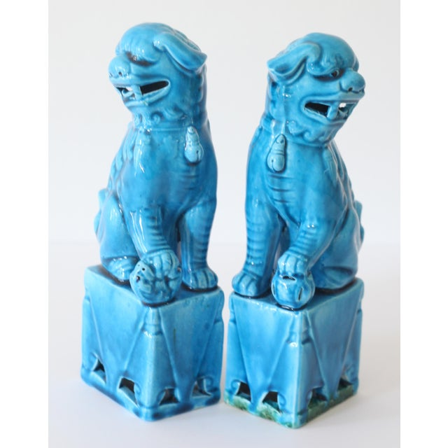 Blue Turquoise Foo Dogs - A Pair - Image 3 of 5