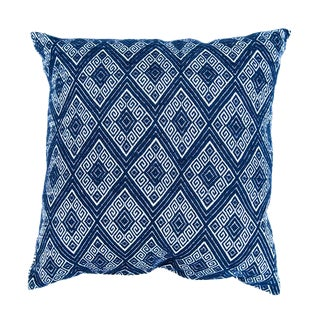 Navy Diamonds Handwoven Pillow
