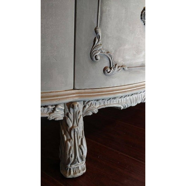 French Rococo Gray Mahogany Demi-Lune Commode - Image 5 of 9