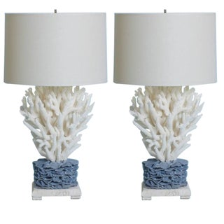 Striking Pair of Staghorn and Blue Coral Table Lamps