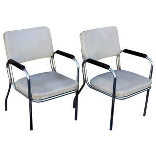 Chrome, Vinyl and Bakelite Chairs - A Pair