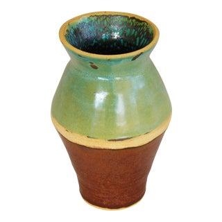 Green & Tan Studio Art Pottery Vase