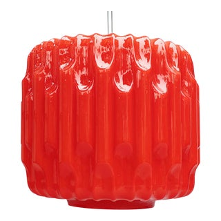 Large Glass Hanging Lamp, 1960s