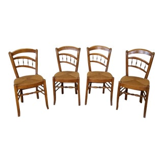 1950s French Country Caned Seat Dining Chairs - Set of 4