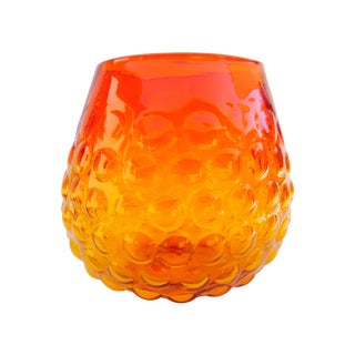 Blenko Bubble Glass Amberina Sandblasted Sig Vase