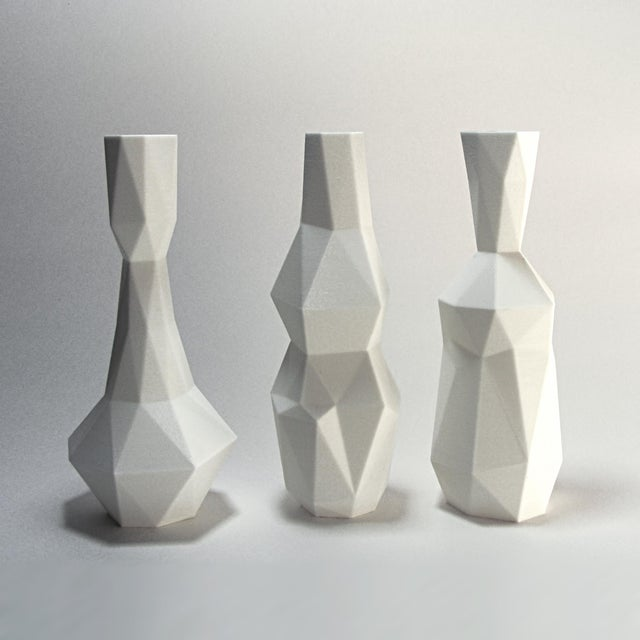 3d Printed Cubist Art Vases - Set of 3, White - Image 2 of 4