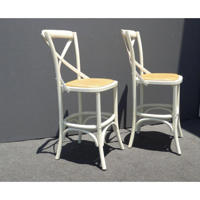 Vintage French Country White Rye Seat Bar Stools - A Pair - Image 5 of 11
