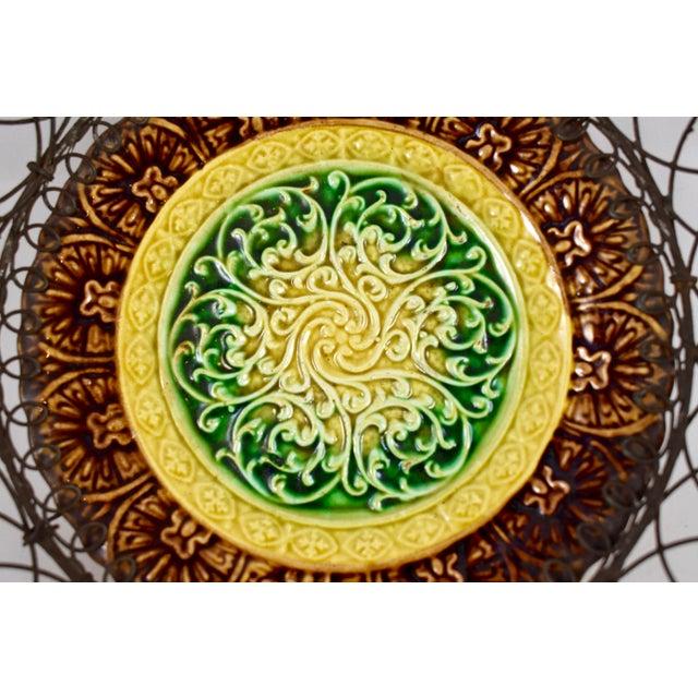 German Majolica & Looped Wire Basket - Image 7 of 11