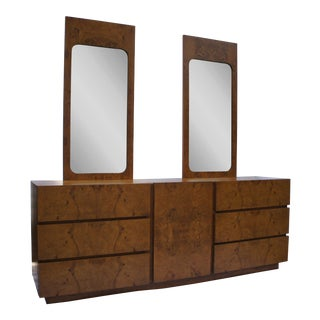Milo Baughman for Lane Olivewood Burl Dresser With Mirrors