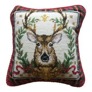 Christmas Stag Reindeer Plaid Needlepoint Pillow