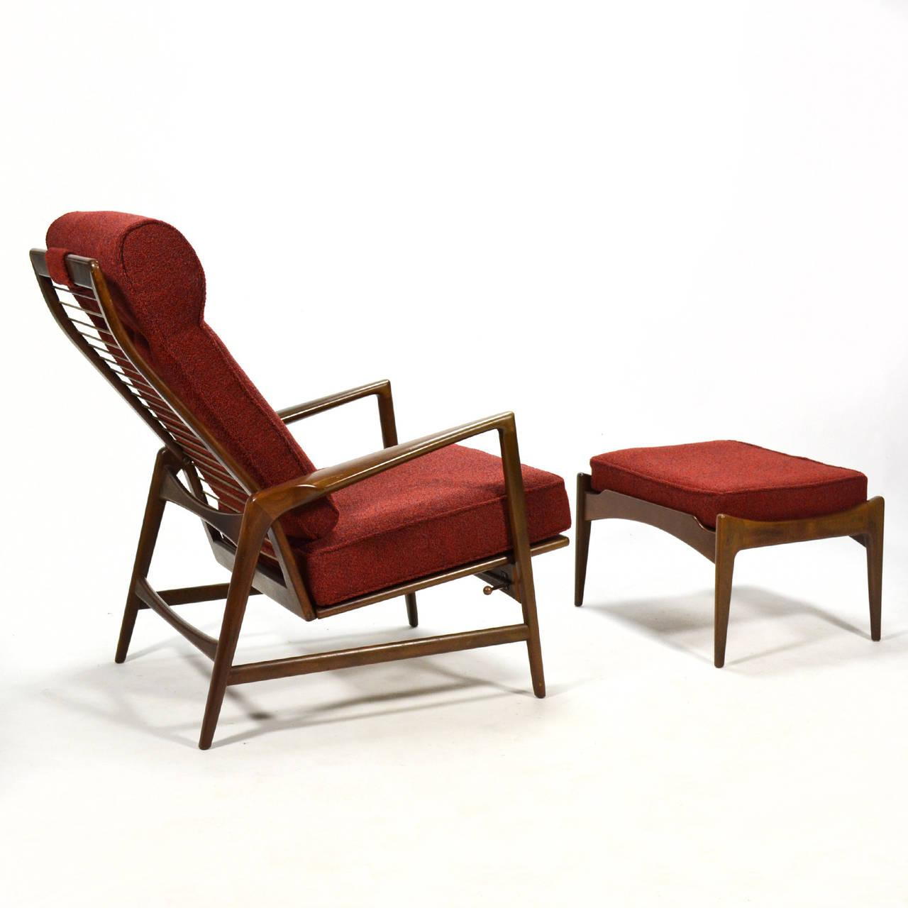 Ib Kofod Larsen Reclining Lounge Chair And Ottoman   Image 6 Of 10