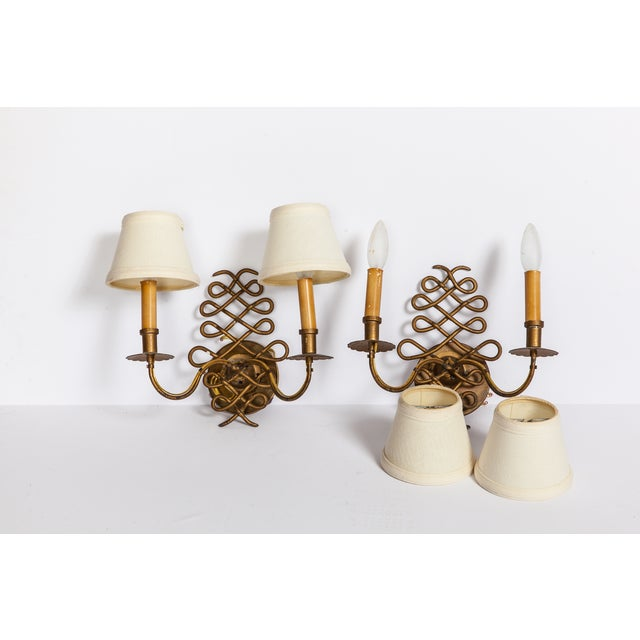 Image of Vintage Brass Sconces - A Pair