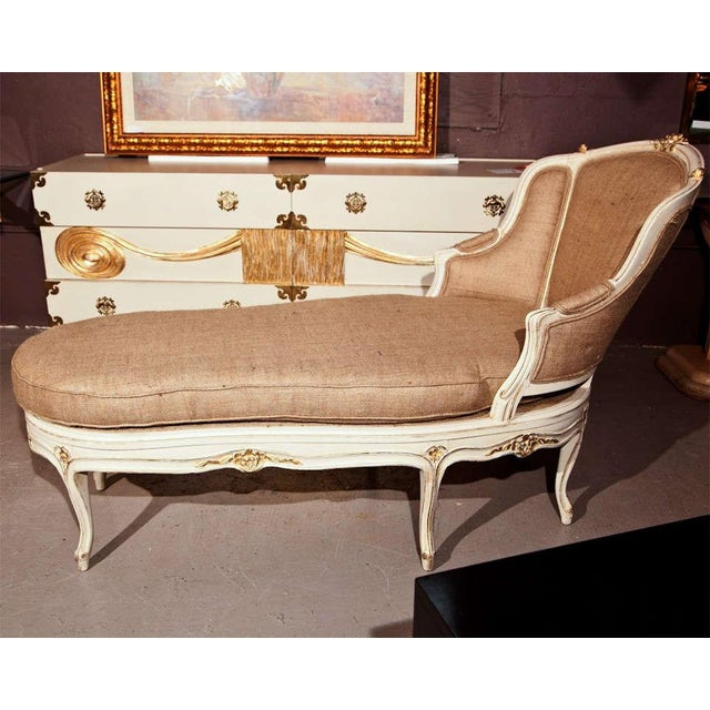 french louis xv style painted chaise chairish. Black Bedroom Furniture Sets. Home Design Ideas