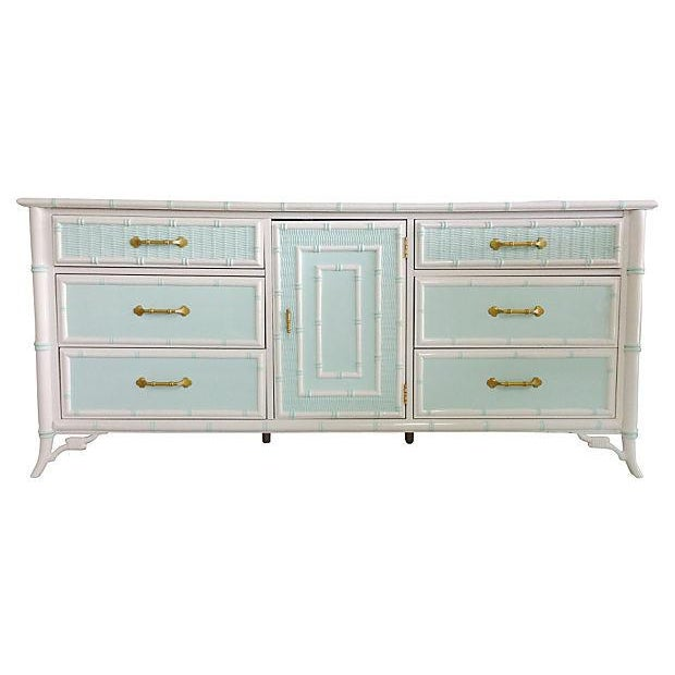 Vintage 1960s Mint & White Faux-Bamboo Credenza - Image 1 of 7