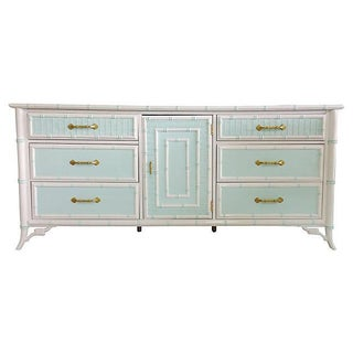 Vintage 1960s Mint & White Faux-Bamboo Credenza