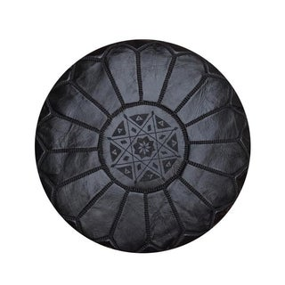 Black Leather Moroccan Pouf, Ottoman, Footstool