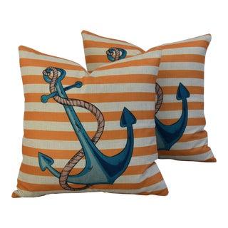 Nautical Beach Ships Anchor Linen Feather/Down Pillows - Pair