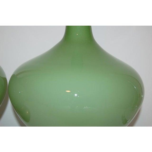 Marbro Handblown Swedish Green Lamps - Image 6 of 8