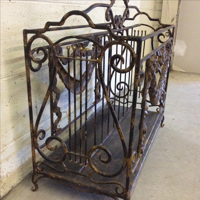 Ornate Lyre Iron Magazine Rack - Image 6 of 9
