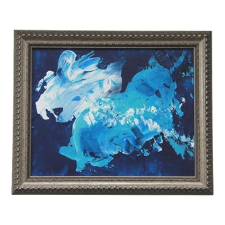 Zodiac 2 Abstract Blue Framed Painting by L. Paul