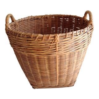 Vintage Rustic Wood Woven Basket