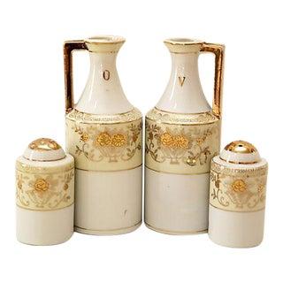 Art Deco Cruets & Salt and Pepper Shakers - 4 Pieces