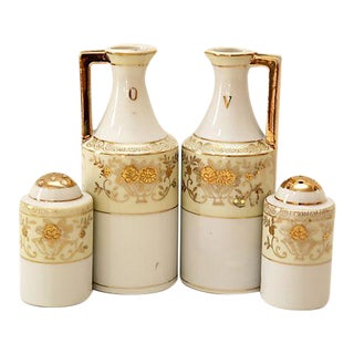 Art Deco Cruets & Salt and Pepper Shakers - 4 Pieces