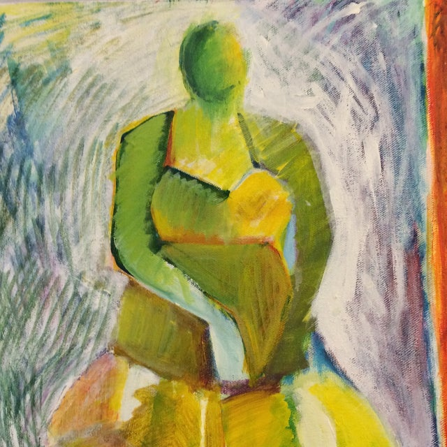 """1984 """"Girl in a Dress"""" Cubist Painting - Image 2 of 7"""