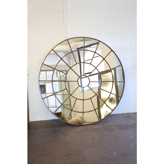 Large industrial round mirror chairish for Extra large round mirror