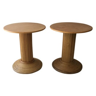 Vintage Bamboo & Wood Side Tables - A Pair