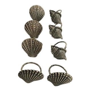 Silver Seashells Shape Napkin Rings - Set of 8